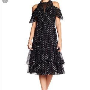 Rebecca Taylor cold shoulder polka dot midi dress